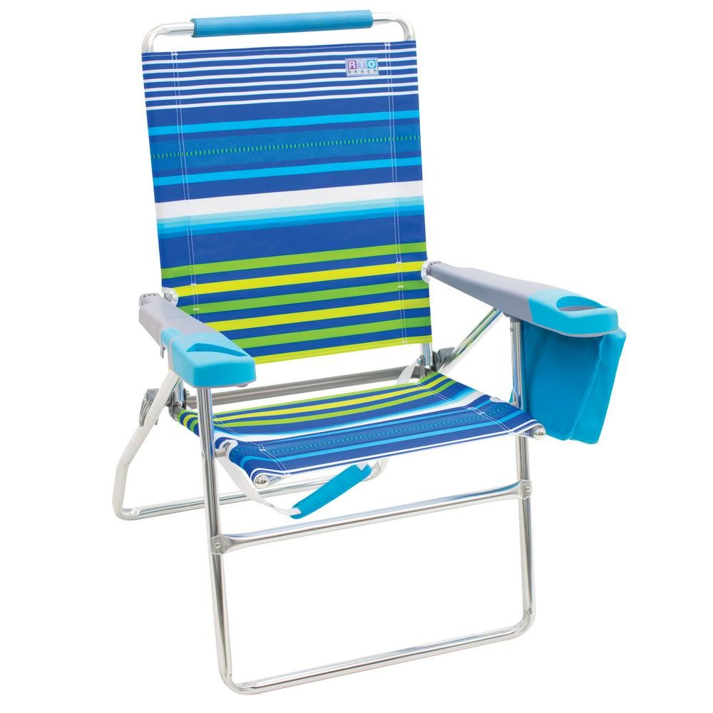 Terrific Rio 17 In 4 Position Aluminum Striped Tall Beach Chair With Bottle Opener And Cell Phone Beverage Holders Home Interior And Landscaping Ferensignezvosmurscom