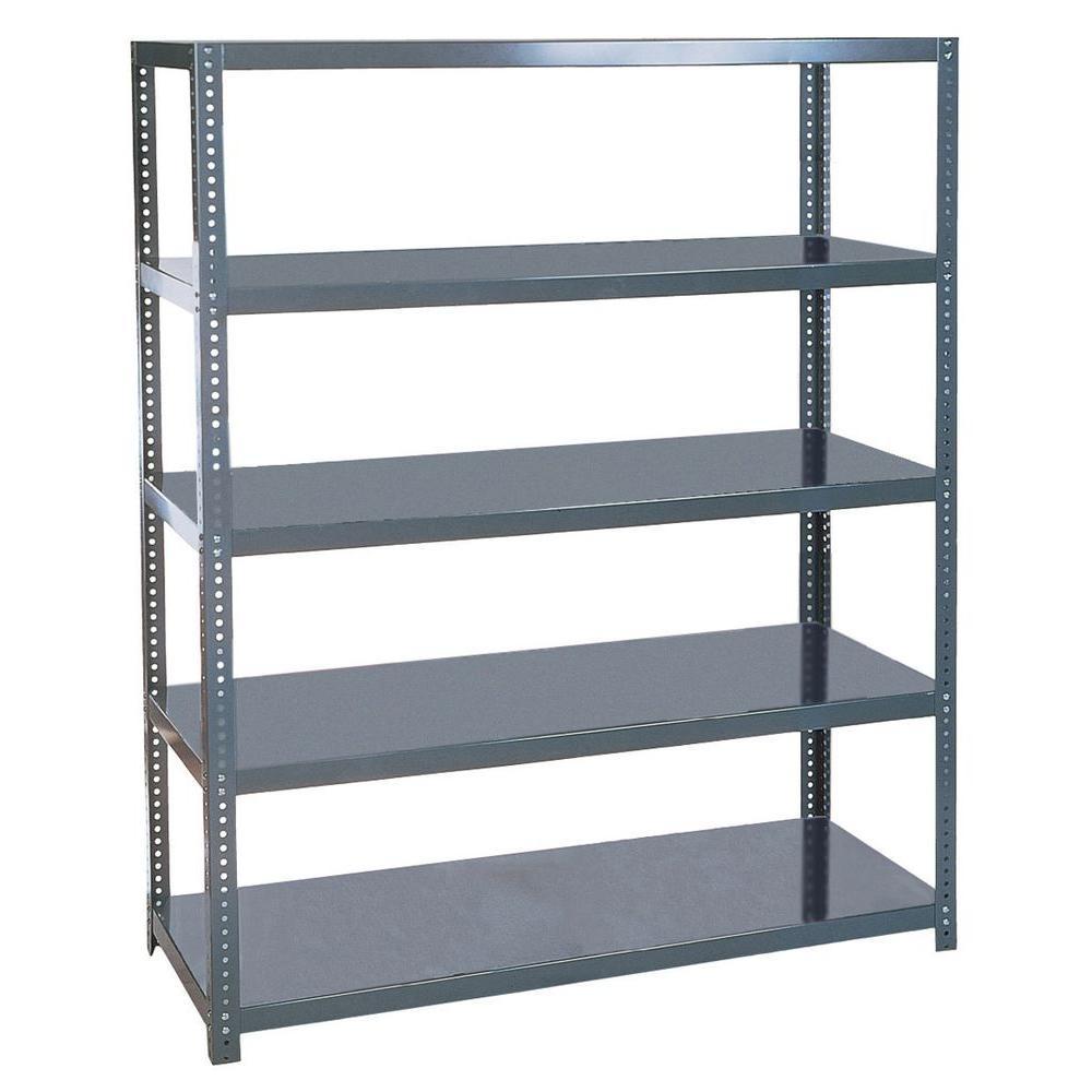 96 in. H x 72 in. W x 24 in. D 5- Shelf Steel Shelving Unit in Gray