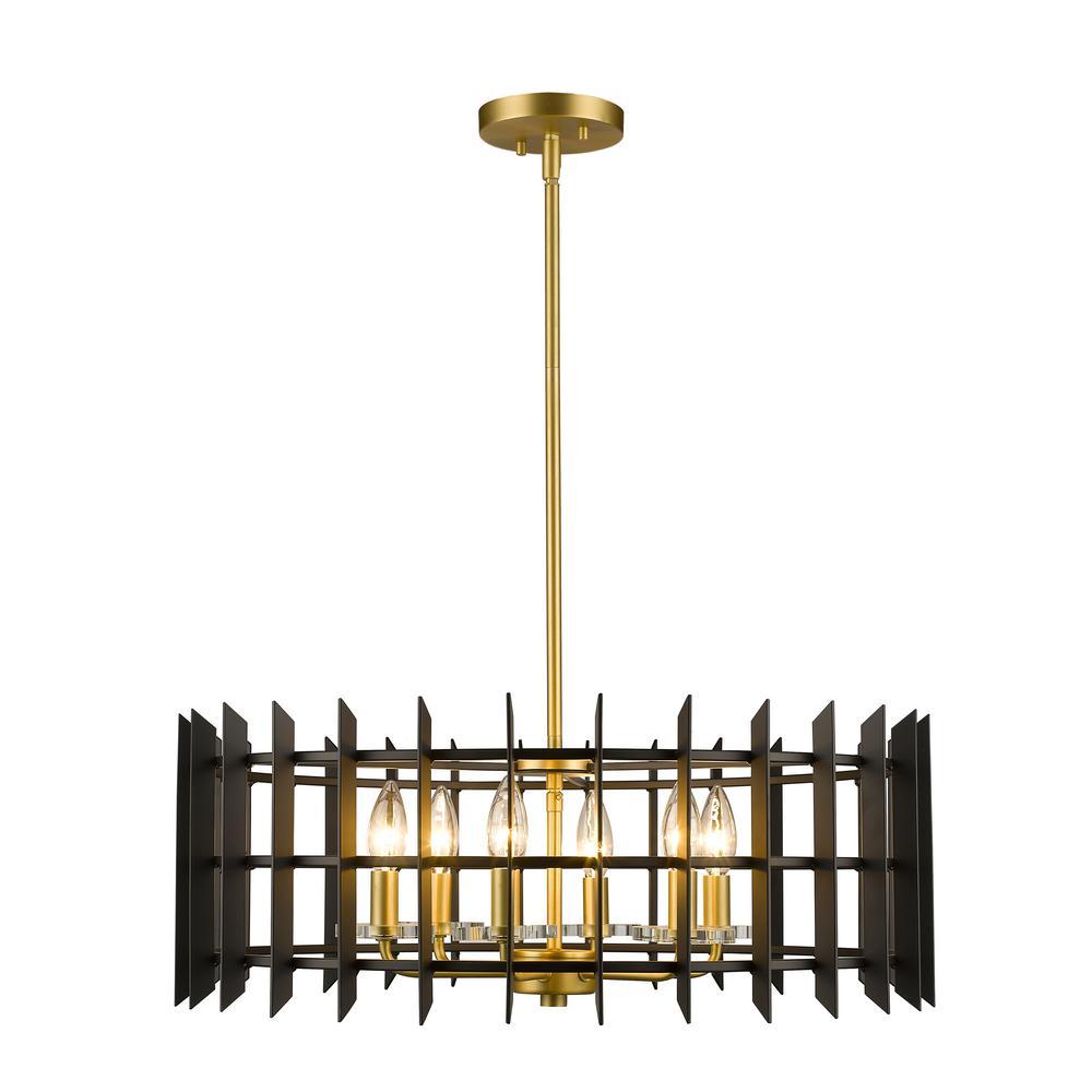 Hales 6-Light Satin Brass Pendant with Matte Black Steel Shade