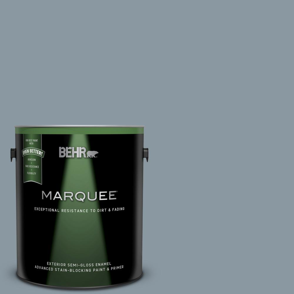 Behr Marquee 1 Gal N490 4 Teton Blue Semi Gloss Enamel Exterior Paint And Primer In One 545401 The Home Depot
