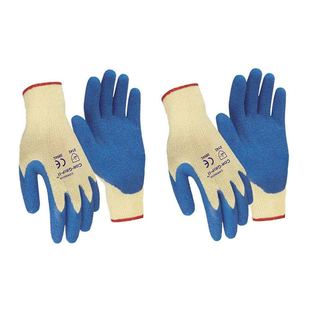 Cor-Grip II Premium Blue Crinkle Latex Palm Natural Blended Shell Large