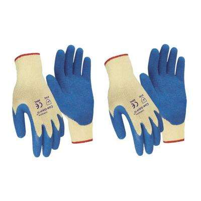 Cor-Grip II Premium Blue Crinkle Latex Palm Natural Blended Shell Large Work Glove (2-Pack)