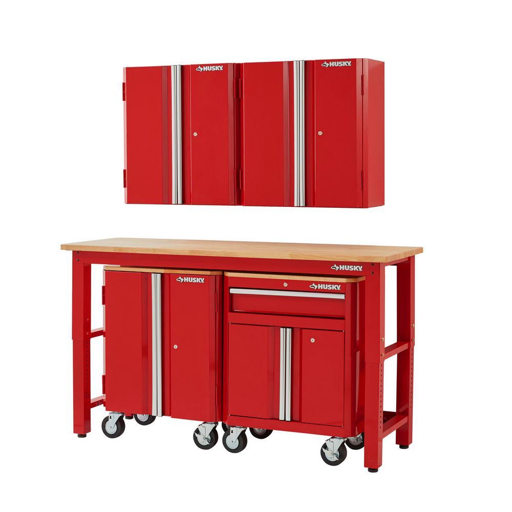 72 in. W x 98 in. H x 24 in. D Steel Garage Cabinet Set in Red (5-Piece)