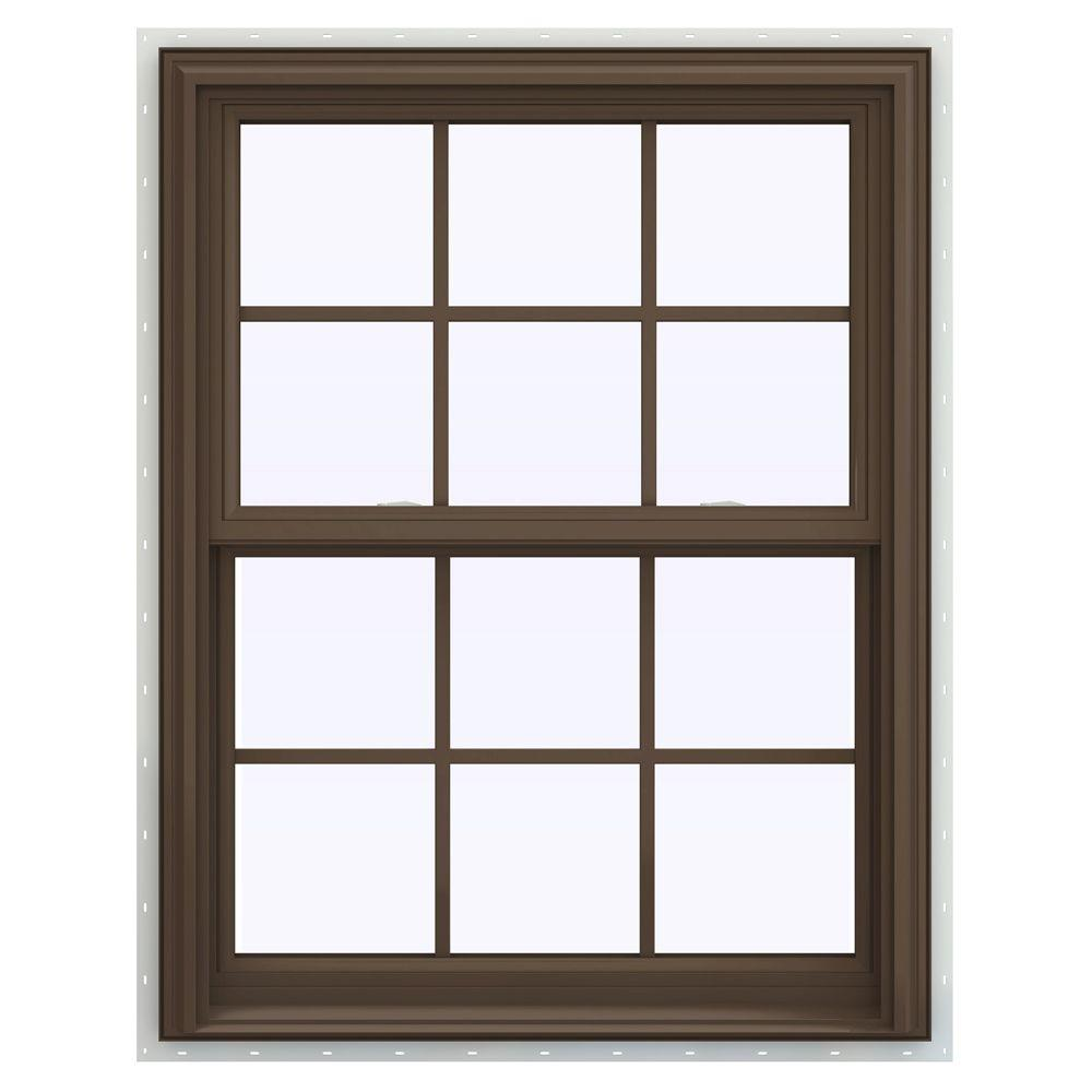 JELD-WEN 31.5 in. x 35.5 in. V-2500 Series Double Hung Vinyl Window with Grids - Brown