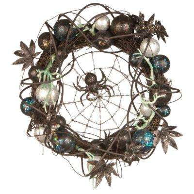 18 in. Halloween Wreath with Ornaments and Black Spider in the Center
