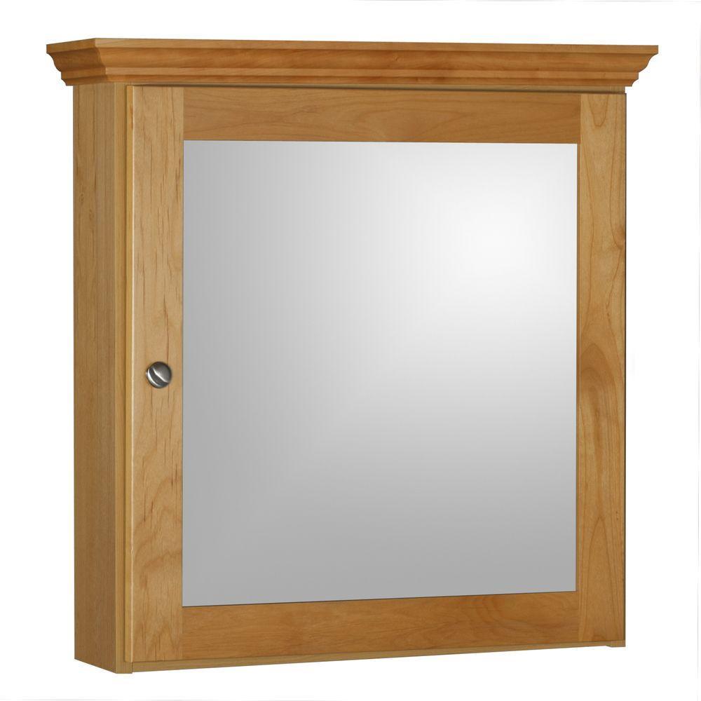 Shaker 24 in. W x 27 in. H x 6-1/2 in. D Framed Surface-Mount Bathroom Medicine Cabinet in Natural Alder