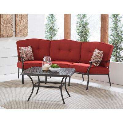 Traditions 2-Piece Aluminum Patio Conversation Set with Red Cushions, Cast-Top Coffee Table and Crescent Sofa