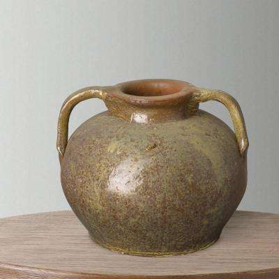 14 in. H Tropical Sand Glaze 2-Handles Jar