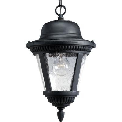 Westport Collection Textured Black 1-Light Outdoor Hanging Lantern