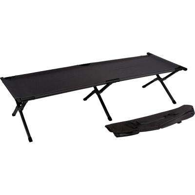 75 in. Portable Folding Camping Bed and Cot - 260 lbs. Capacity Black
