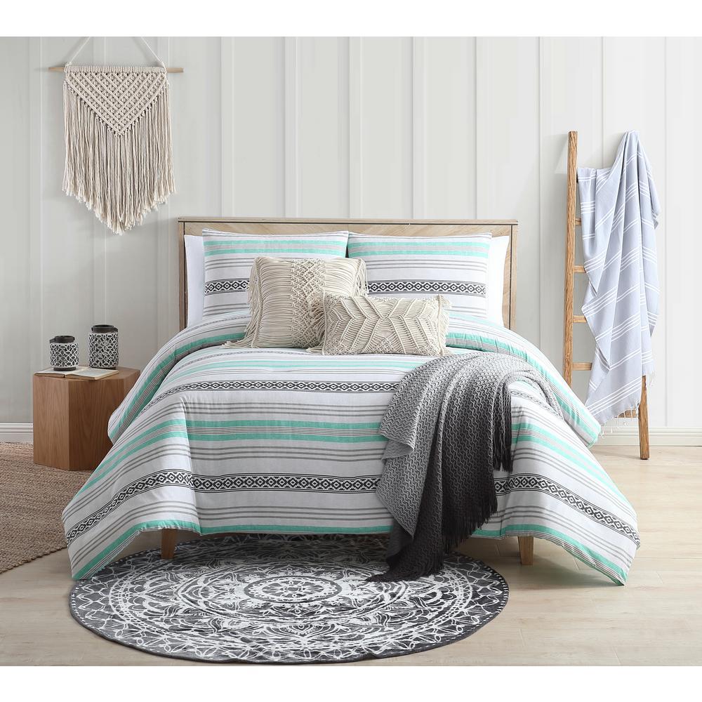 Baja Black and Aqua Striped Cotton Twin/ Twin XL Comforter Set