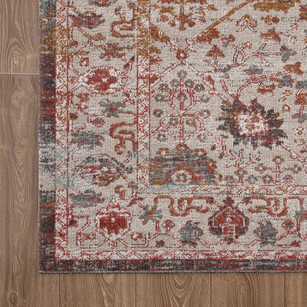 Antiquity Rust / Cream 2 ft. x 4 ft. Distressed Persian Bordered Indoor/Outdoor Area Rug