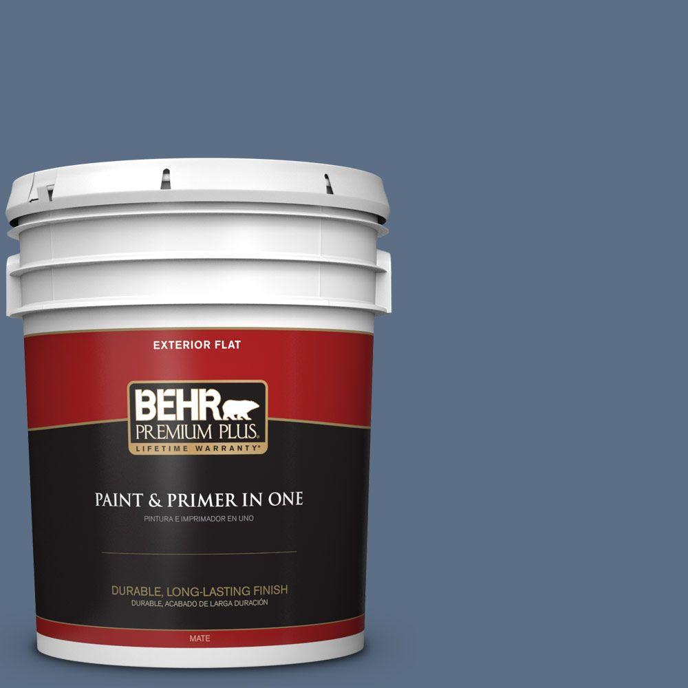 BEHR Premium Plus 5-gal. #ECC-57-3 Always Indigo Flat Exterior Paint