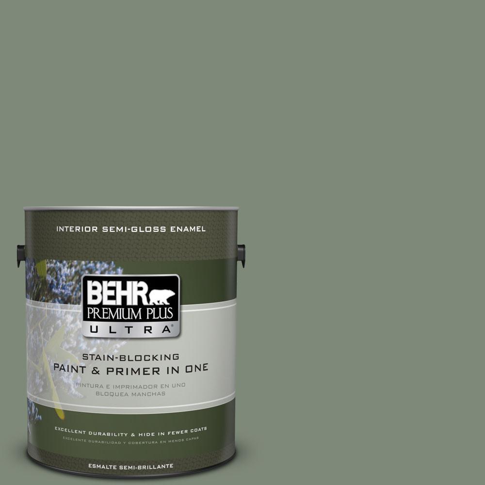 1-gal. #450F-5 Amazon Moss Semi-Gloss Enamel Interior Paint