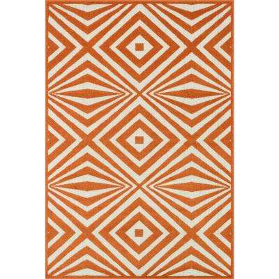 Catalina Lifestyle Collection Orange/Ivory 3 ft. 11 in. x 5 ft. 10 in. Area Rug