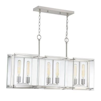 6-Light Satin Nickel Chandelier with Clear Glass