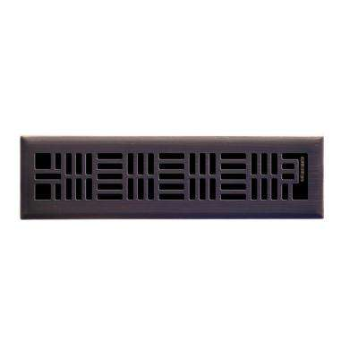 2 in. x 12 in. Art Nouveau Floor Register in Oil Rubbed Bronze