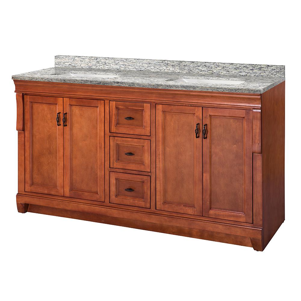 Home Decorators Collection Naples 61 in. W x 22 in. D Vanity in Warm Cinnamon with Granite Vanity Top in Santa Cecilia with White Sink was $1599.0 now $1119.3 (30.0% off)