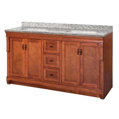 Naples 61 in. W x 22 in. D Vanity in Warm Cinnamon with Granite Vanity Top in Santa Cecilia with White Sink