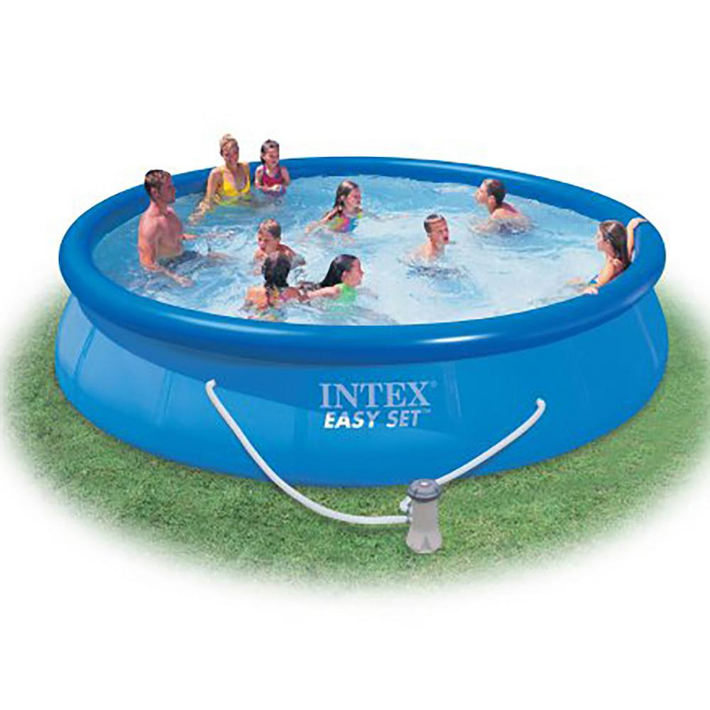 Intex 15 ft. x 33 in. Round 33 in. D Inflatable Above Ground Swimming Pool  with Pool Chemical Kit