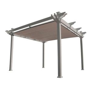 Weatherables Palmetto 12 ft. x 12 ft. Tan Double Beam Vinyl Pergola with Shade Canopy by Weatherables