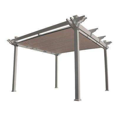 Palmetto 12 ft. x 12 ft. Tan Double Beam Vinyl Pergola with Shade Canopy