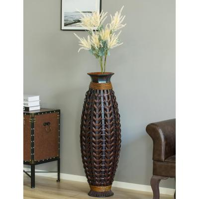 39 in. High Black Tall Bamboo Floor Standing Vase with Wicker Woven Design