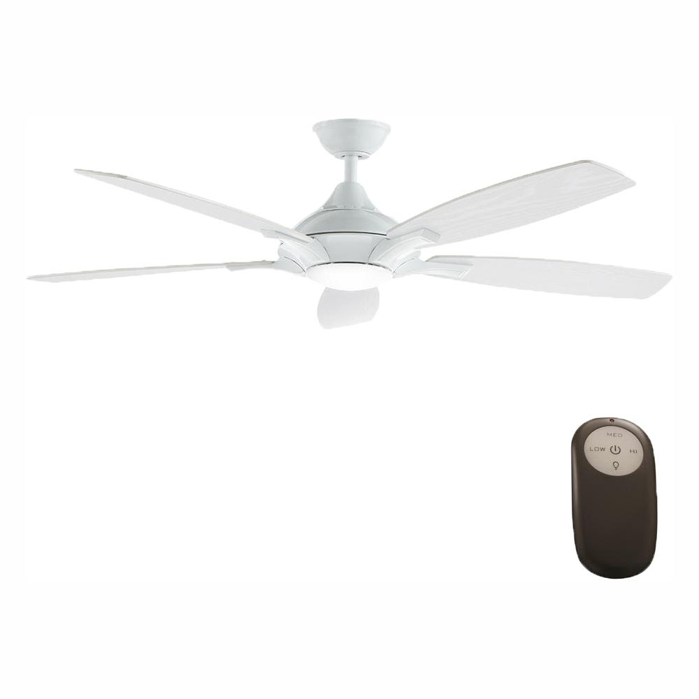 Home Decorators Collection Petersford 52 in. Integrated LED Indoor White Ceiling Fan with Light Kit and Remote Control