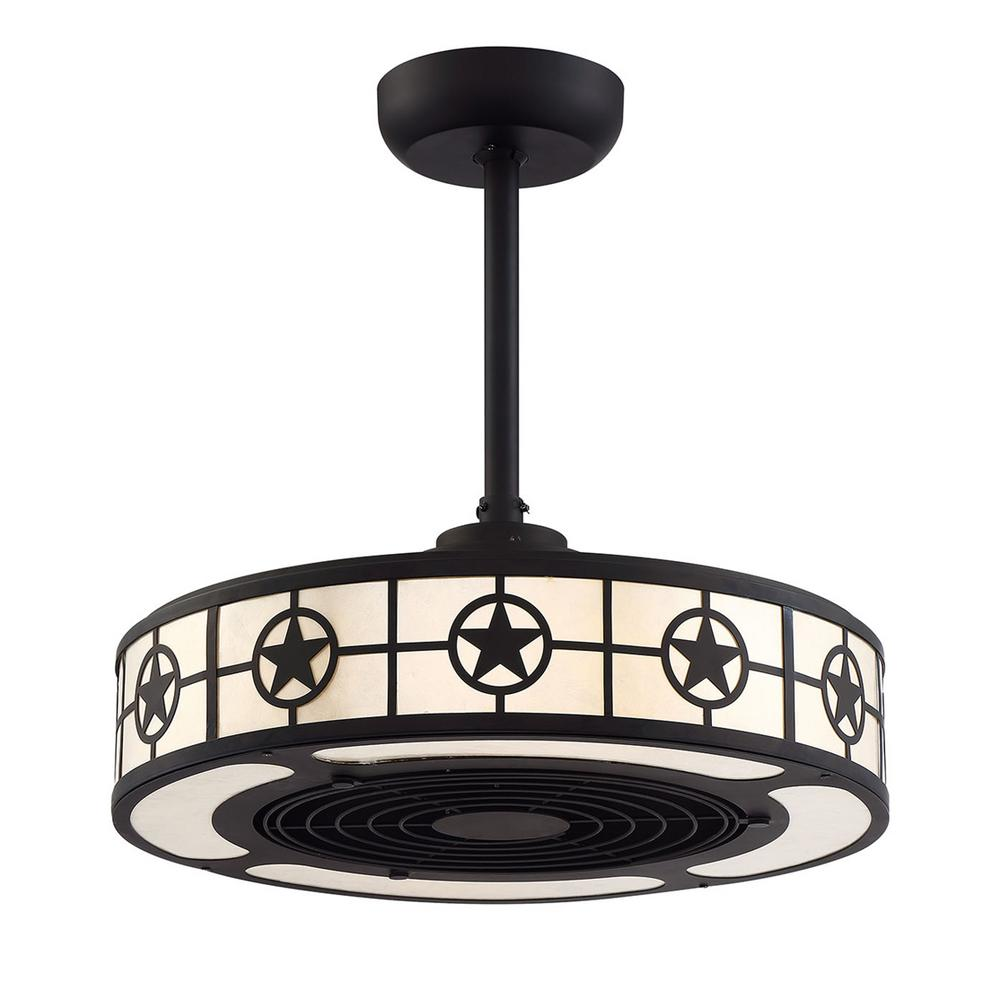 Fifth and Main Lighting LoneStar 22 in. Aged Bronze and White Mica LED Ceiling Fan with Light