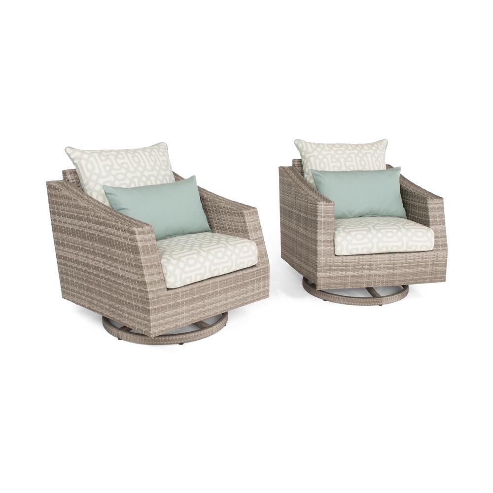Wicker Club Chair Seating Set Spa Blue Cushio