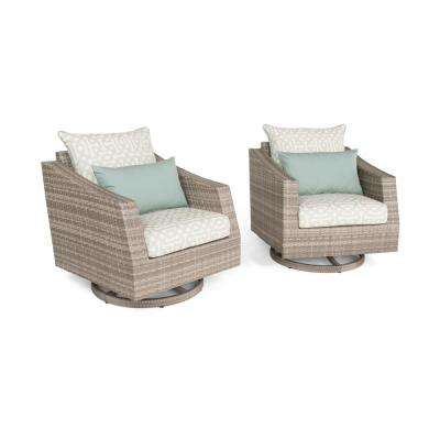 Cannes 2-Piece All-Weather Wicker Patio Deluxe Motion Club Chair Seating Set with Spa Blue Cushions