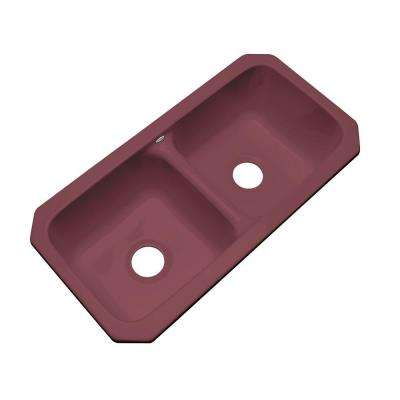 Brighton Undermount Acrylic 33.in 0-Hole Double Bowl Kitchen Sink in Raspberry Puree