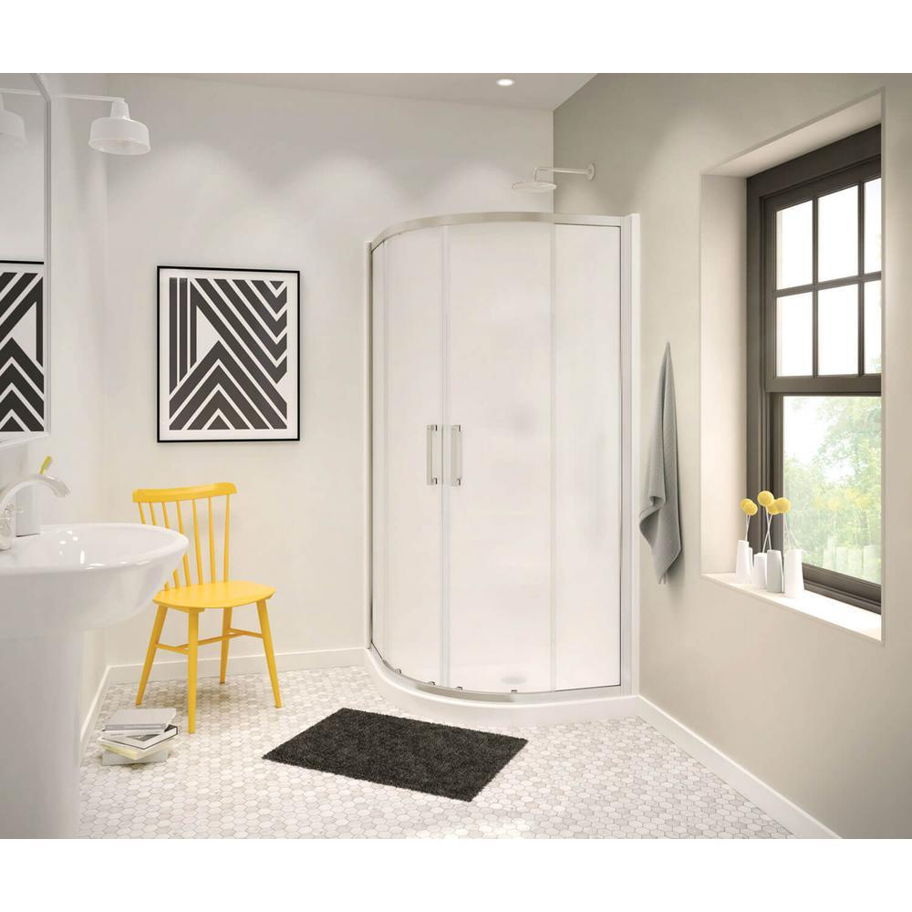 MAAX Radia 36 in. x 36 in. x 71-1/2 in. Frameless Neo-Round Sliding Shower Door with Mistelite Glass in Brushed Nickel