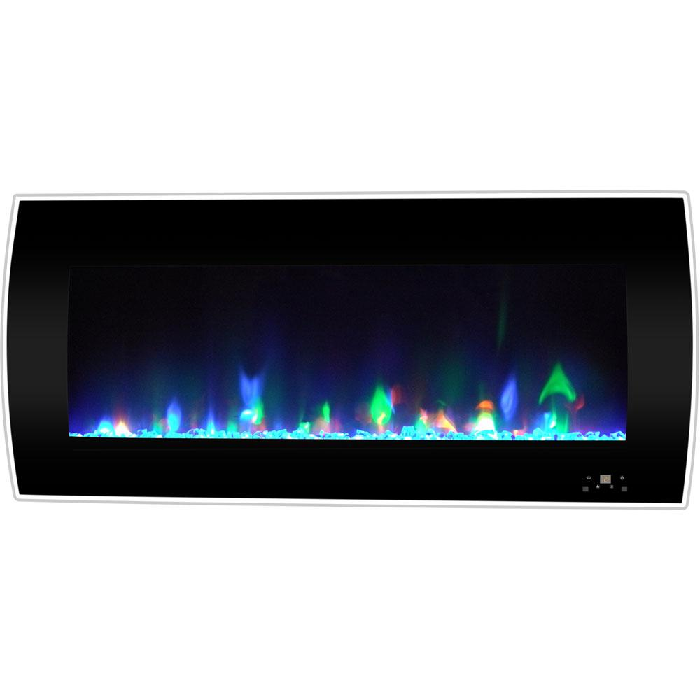 Cambridge Curved 42 in. Wall-Mount Electric Fireplace in Black with Crystal Rocks