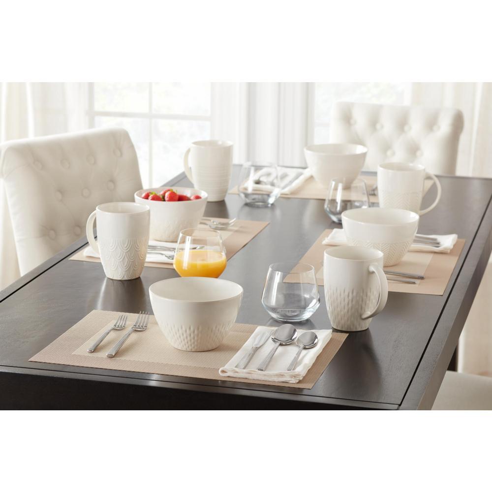 Piedmont 8-Piece Reactive Glaze Ivory Stoneware Bowl Set (Service for 8)