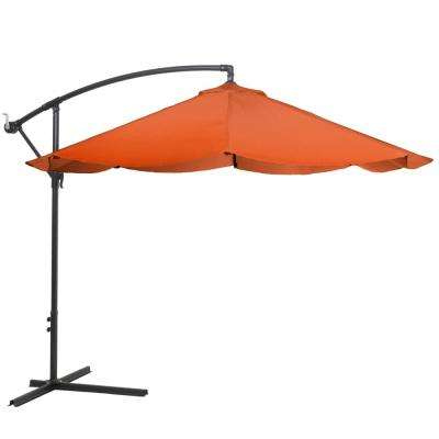 10 ft. Offset Aluminum Hanging Patio Umbrella in Terracotta