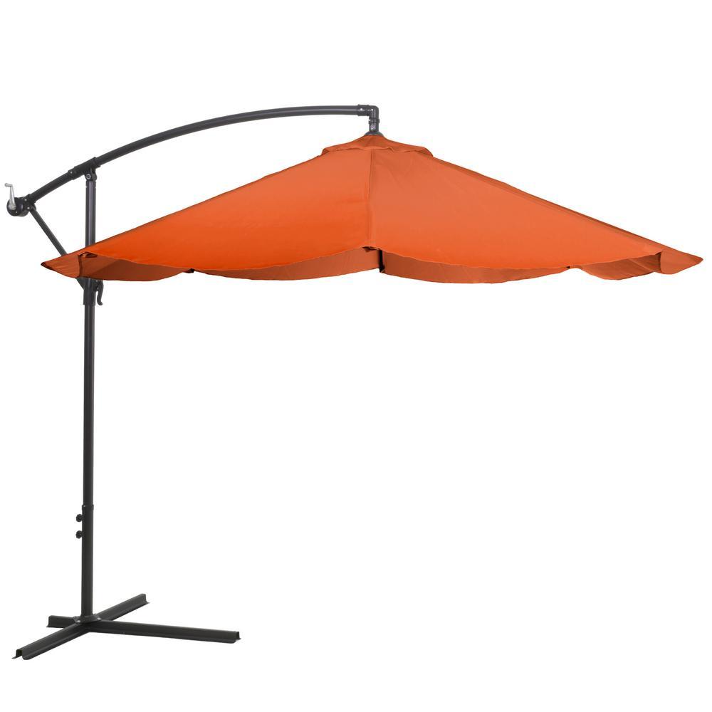 10 ft. Offset Aluminum Hanging Patio Umbrella in Terracotta