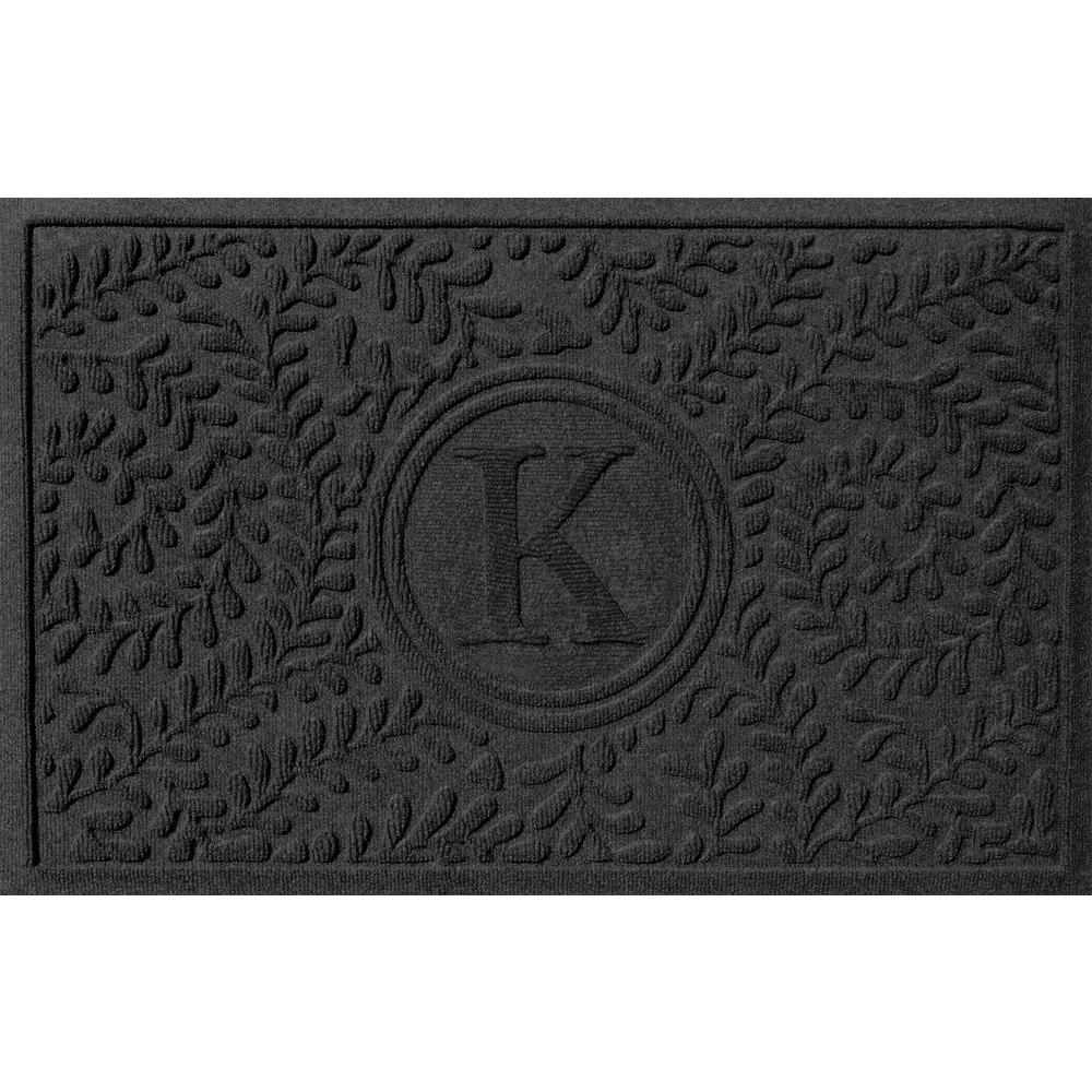 Bungalow Flooring Boxwood Charcoal 24 in. x 36 in. Monogram K Door Mat