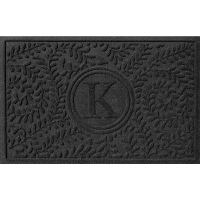 Boxwood Charcoal 24 in. x 36 in. Monogram K Door Mat