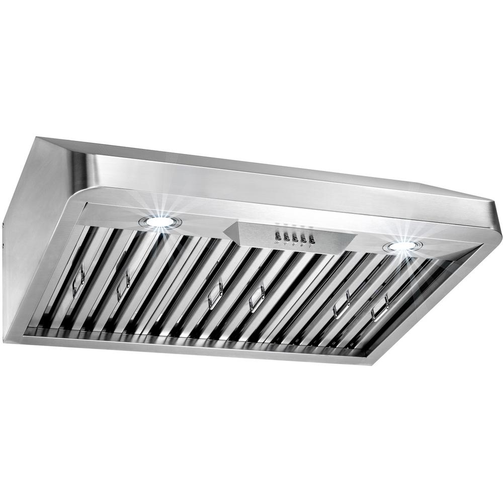 30 in. Under Cabinet Range Hood in Stainless Steel with LEDs
