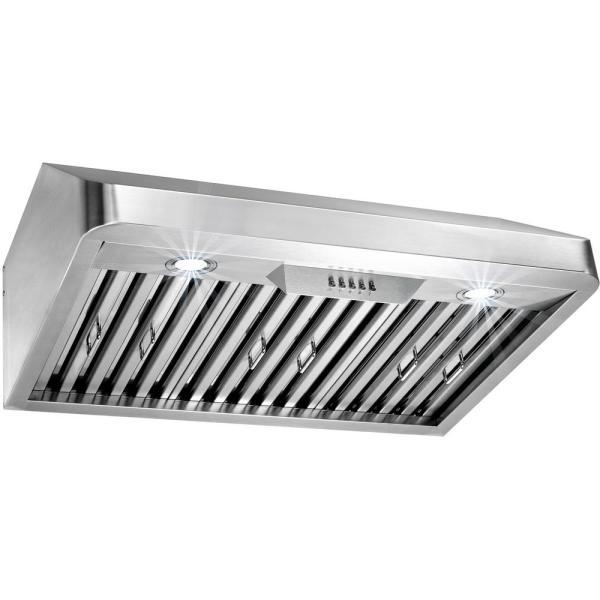 AKDY 30 in. Under Cabinet Range Hood in Stainless Steel with LEDs and Electronic Push Buttons
