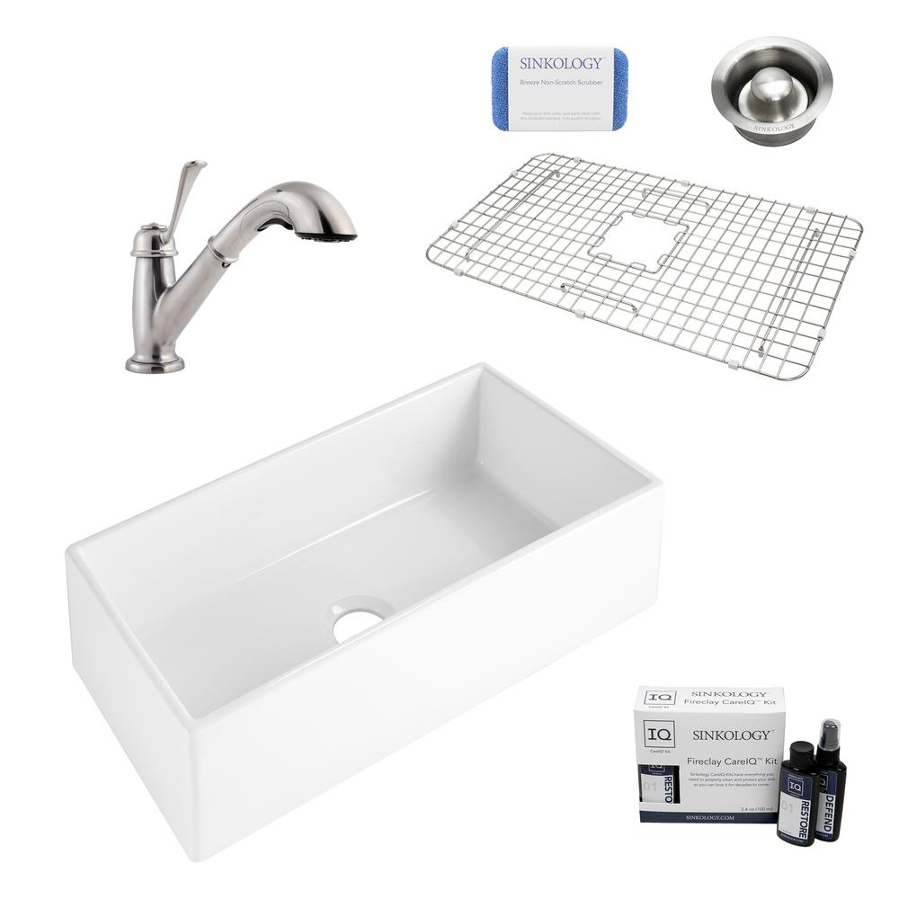 SINKOLOGY Harper All-in-One Farmhouse/Apron-Front Fireclay 36 in. Single Bowl Kitchen Sink with Pfister Bixby Faucet and Drain