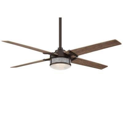 Rustic 54 in. Integrated LED Indoor Oil Rubbed Bronze Ceiling Fan with Light