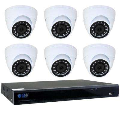 8-Channel HD-Coaxial 5MP System Bundle with 6 Dome Cameras Built-In Microphone and 2TB HDD