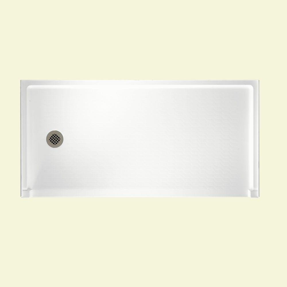 Swan 30 in. x 60 in. Solid Surface Single Threshold Left-Drain Barrier-Free Shower Floor in White