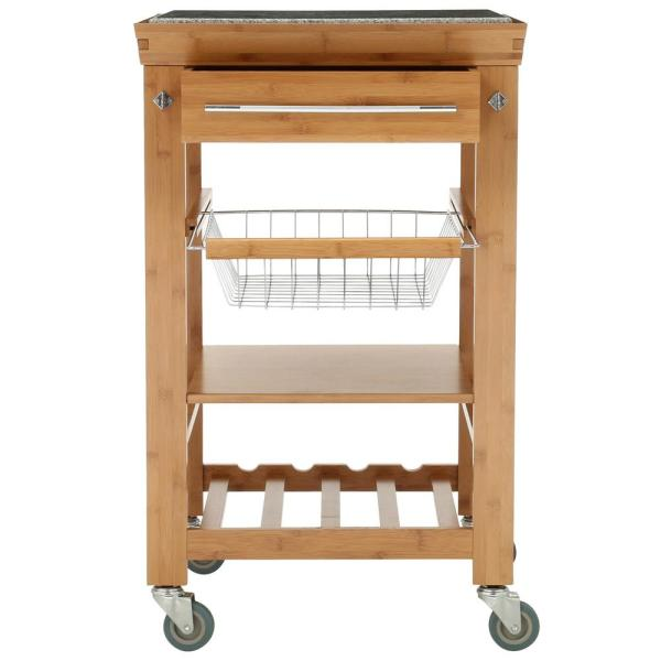 Linon Home Decor Light Wood Kitchen Cart With Granite Top