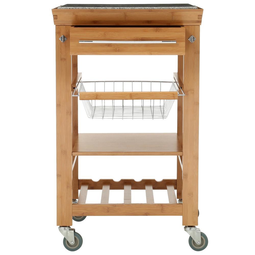 Linon Home Decor 22 Sq In Bamboo Kitchen Island Cart