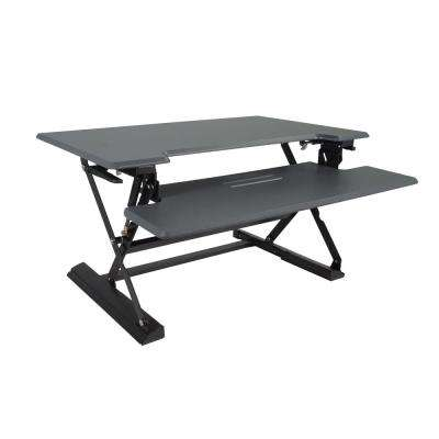 31 in. H Gray and Black Adjustable Standing Desk with Keyboard Tray