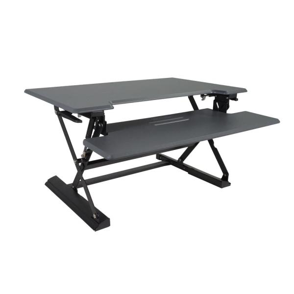 Victor Technology 31 in. H Gray and Black Adjustable Standing Desk with Keyboard Tray