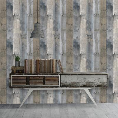 Repurposed Wood Multi-Color Self-Adhesive, Removable Wallpaper